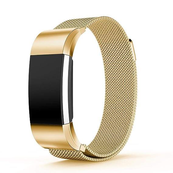Bestow Reloj de Pulsera Fitbit Charge 2 Small Milanese Reloj Pulsera de Correa de Acero Inoxidable