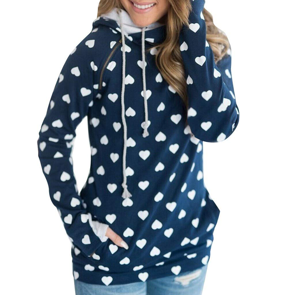 OSTELY Fashion Hoodie for Women Casual Loose Long Sleeve Zipper Polka Dots Strappy Pullover Sweatshirt Tops