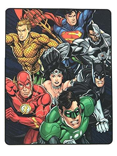 Justice League Blanket - Plush Throw - Flash - Superman - Wonder Woman - Batman - Aquaman - Green Lantern - Cyborg (Blanket Lantern Green)