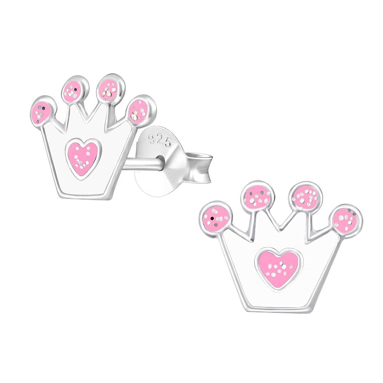 sl-silver enfants boucles d'oreille Couronne avec cœur scintillant Argent Sterling 925dans étui Bijoux SL-kinderohrstecker51
