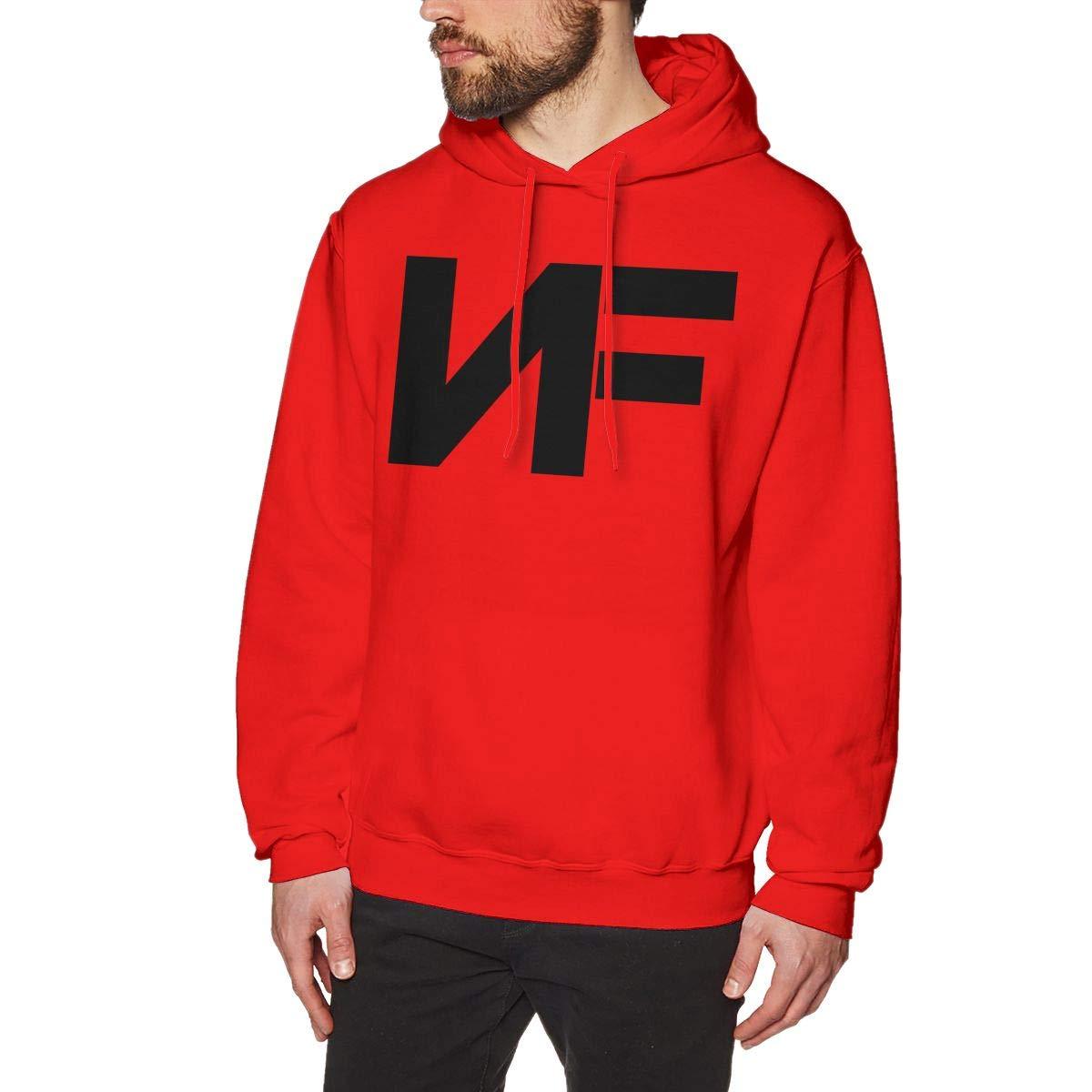 Men's NF Rapper Logo-Black Logo Hoodie Custom Pullover Sweatshirt Long Sleeve Hoodies Hooded for Youth Boys Men Red L by Cxcai