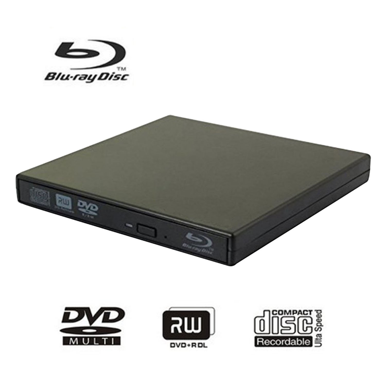 External blu-ray disc drive, USB portable DVD burner,BD-ROM,DVD/CD-RW/ROM Writer/Player,Support xp/win/Linux system related desktop, notebook, etc (black)