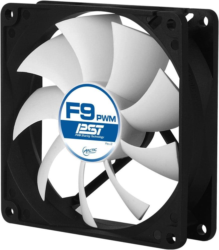 ARCTIC F9 PWM PST – 99 mm Ventilador de Caja para CPU con PWM Sharing Technology (PST), Motor Trifásico Muy Silencioso, Computadora, 150-1800 RPM – Gris/Blanco