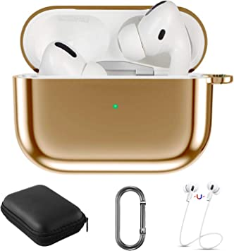 Amazon Com Aiiko Airpods Pro Case Cover Soft Tpu Plated Full