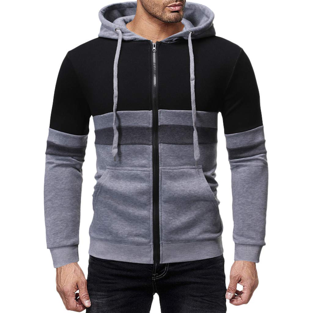 AcisuHu Young Men's Hoodies Splice Pullover Hoodie Top with Drop Shoulder Close-Fitting for Running Sports Autumn