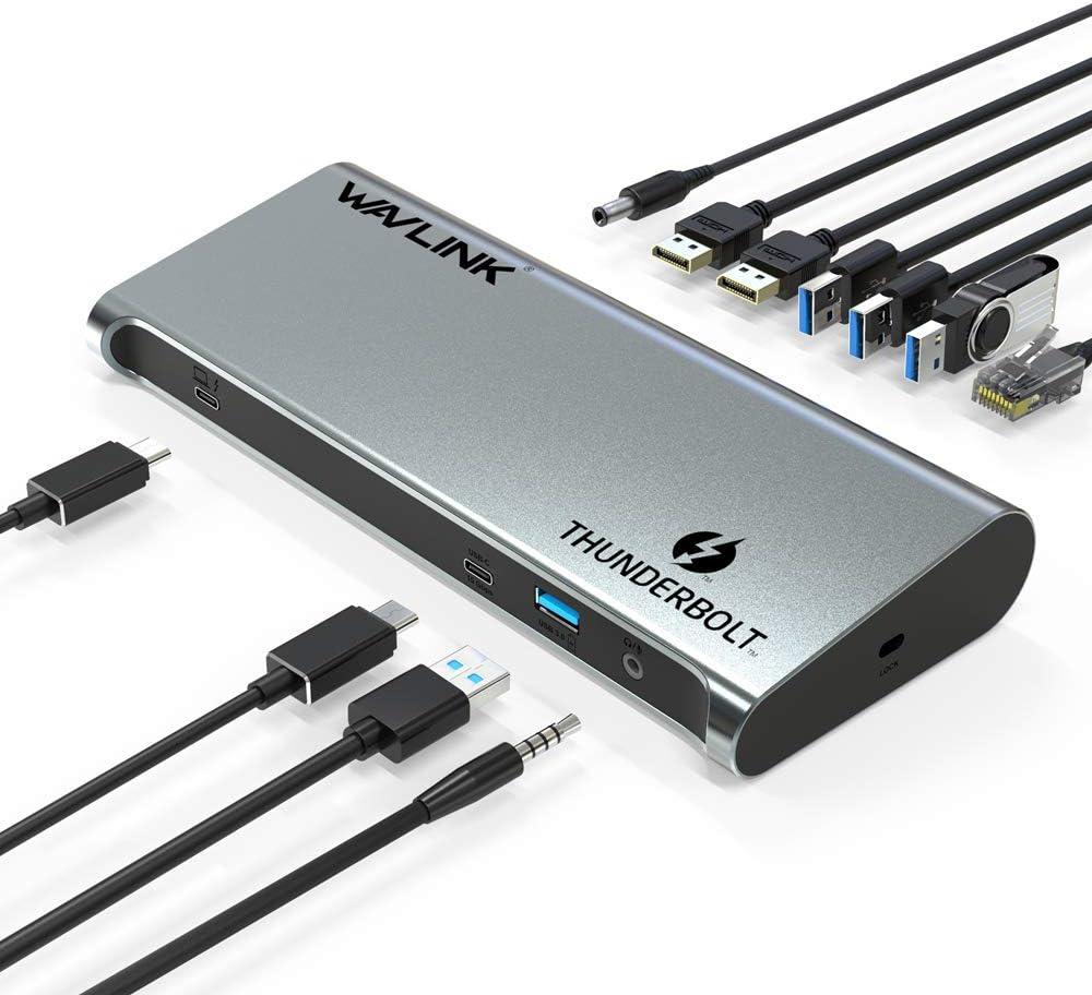 60W Charging ,Dual 4K@60Hz /& Single 8K@30Hz Display,Thunderbolt 3 Port up to 40Gbps 2 USB3.0 WAVLINK 8K Thunderbolt 3 Dock 2X DP 1.4 for 2016+ MacBook Pro /& PC 3 USB 10Gbps