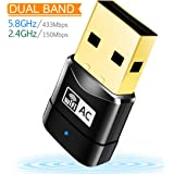 WiFi Adapter AC600 Wireless USB Adapter 5G/2.4G Dual Band Network Lan Card 802.11ac Mini USB WiFi Dongle Adapter Mailiya Wireless Network Adapter Support Windows XP/Vista/7/8.1/10/Mac OS X 10.4-10.11