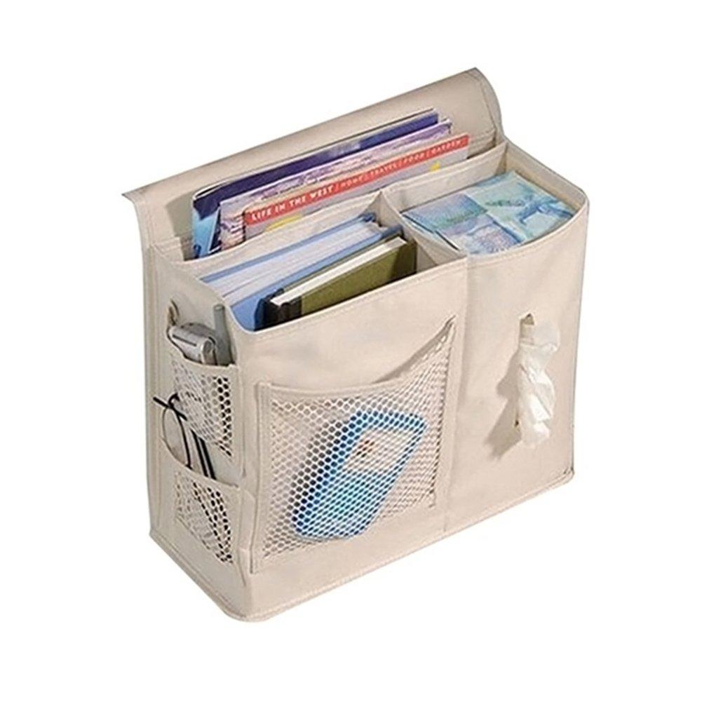 Hrph 6 Pockets Bedside Mesh Fabric Storage Bag Book Remote Organizer Hanging Bag EXPSFN008288