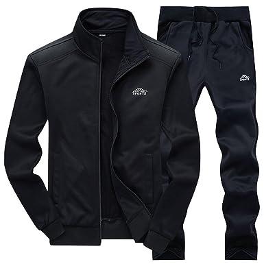3b1e1ea589 JINSHI Mens Athletic Jacket and Pants Sports Training Track Suit Set  (Black3