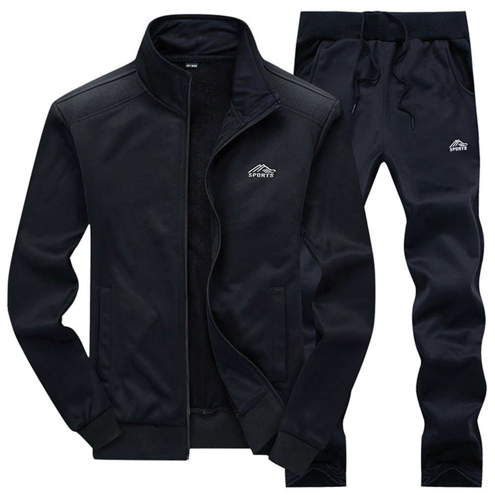 DUNKINBO Mens Athletic Jacket and Pants Sports Training Track Suit Set (Black3,M)