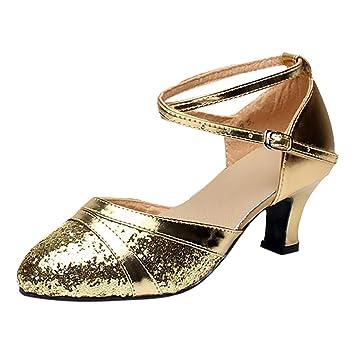 5dcbc9bac Amazon.com  Women Dance Shoes Pointed Toe Metallic Girls Latin Salsa ...