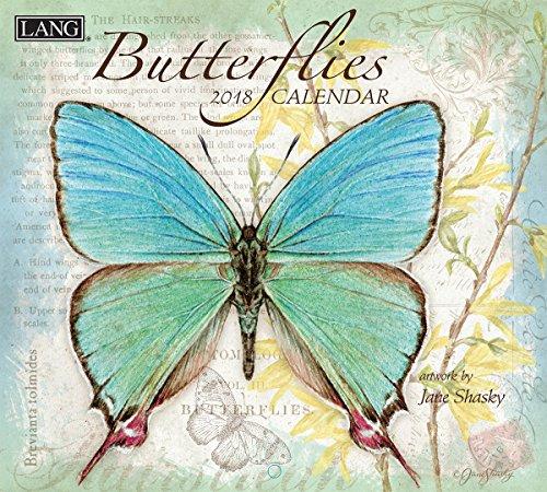 """LANG - 2018 Wall Calendar - """"Butterflies"""", Artwork By Jane Shasky - 12 Month - Open 13 3/8"""" X 24"""""""