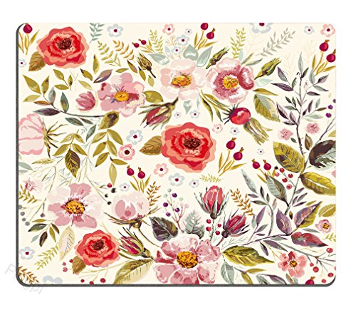 Mouse Pad Unique Custom Printed Mousepad Vintage hand drawn floral Non-Slip Rubber - Pad Printed Mouse Custom