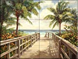 Ceramic Tile Mural - I'm Going To The Beach - by Laurie Snow Hein - Kitchen backsplash / Bathroom shower