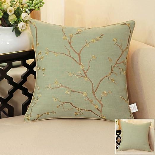 Funda de almohada decorativa almohada de algodón y lino ...