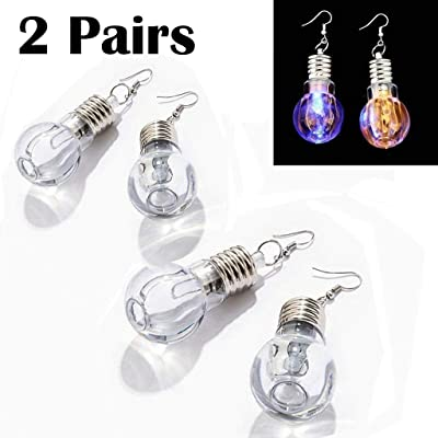 eLUUGIE 2 Pairs/4 Pecies LED Earrings Glowing Light Up Toy Bulb Shape Ear Drop Dance Party Accessories Multicolored Flashing for Christmas Party Gift Halloween Festival Party (2 Pairs/ 4 Pieces): Toys & Games