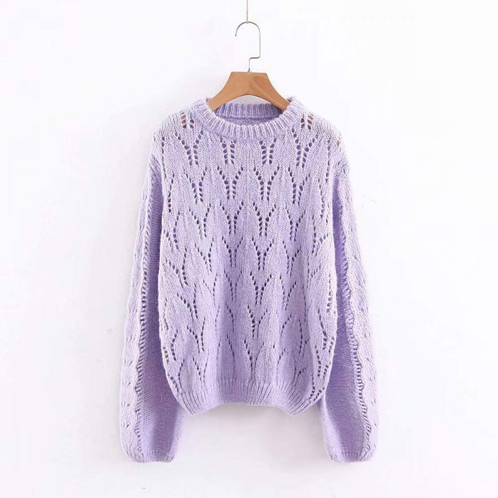 FUHENGMY Pullover Hollow Out Stricken Pullover Kawaii Herbst Frauen Solide Pullover Weibliche Casual O Neck Langarm Strickwaren