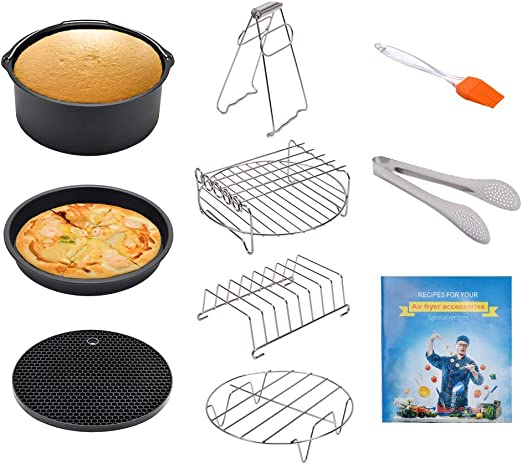 Cookbook Included Multi-Purpose Rack with Skewers and Silicone Mat 5.8QT Fits All 3.7QT Non-stick Barrel//Pan Air Fryer Accessories For Gowise Philips And Cozyna Metal Holder