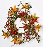 Worth Imports 6.5'' Fall Berry & Leaf Candle Ring, 12'' Outer Diameter Centerpiece