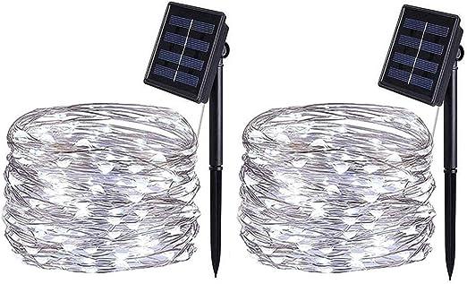2 Pack] Guirnaldas Luces Exterior Solar, BOLWEO Cadena de Luces 5m 50 LED 8 Modos, Blanco Frío, Impermeable Luces Led Solares Exteriores Decoracion para Navidad, Fiestas, Patio, Terraza, Jardines: Amazon.es: Iluminación