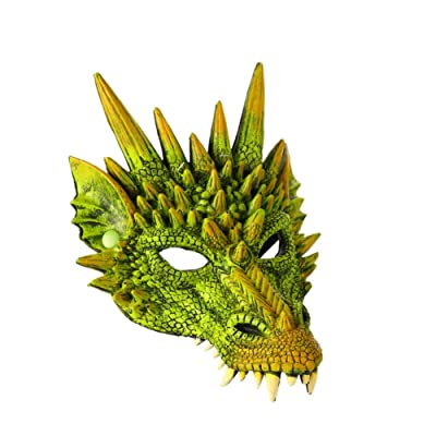 4D Máscara de dragón Media mascarilla para niños Adolescentes Disfraces de Halloween Decoraciones para fiestas Cabeza de animal Monstruo Horror Máscaras de goma de Halloween POR Iswell: Hogar