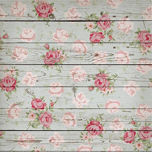 Laeacco 5x5ft Vinyl Photography Background Madeira Floral Buildings and Architecture Home Wall Decoration Vintage Style Floral Wooden Wallpaper Baby Girls Lover Children Birthday Party Holiday