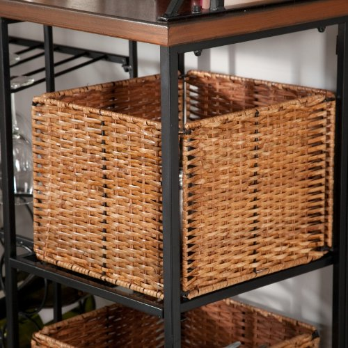 Metal Bakers Rack with Wine Storage, Wine Glass Storage and 2 Pull-out Storage Baskets by Belham Living (Image #7)