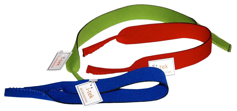 I-tek Neoprene strap cord retainer (sunglasses/eyeglasses) *Pack of x 3 Blue, red and green ncc