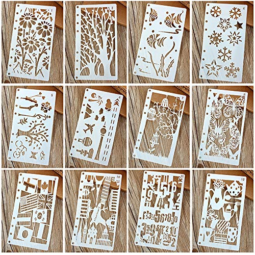 Painting Stencils Template Drawing Hollow Scale Stencil Set for Loose Leaf A6 Bullet Notebook Scrapbooking Journal Diary Albums Card 8-Ring Paper Inserts DIY Art Craft Projects Decorations 12 Pack for $<!--$8.99-->