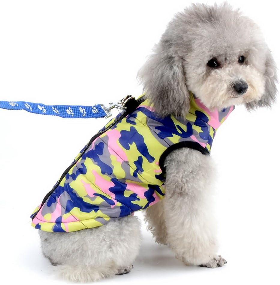 SELMAI Camuflaje Chaquetas Perros Pequeño Medianos Ropa para Gatos Invierno Chihuahua Abrigos con Anillo en D para Perros Cachorros Yorkshire Caminar al Aire Libre Rosado S