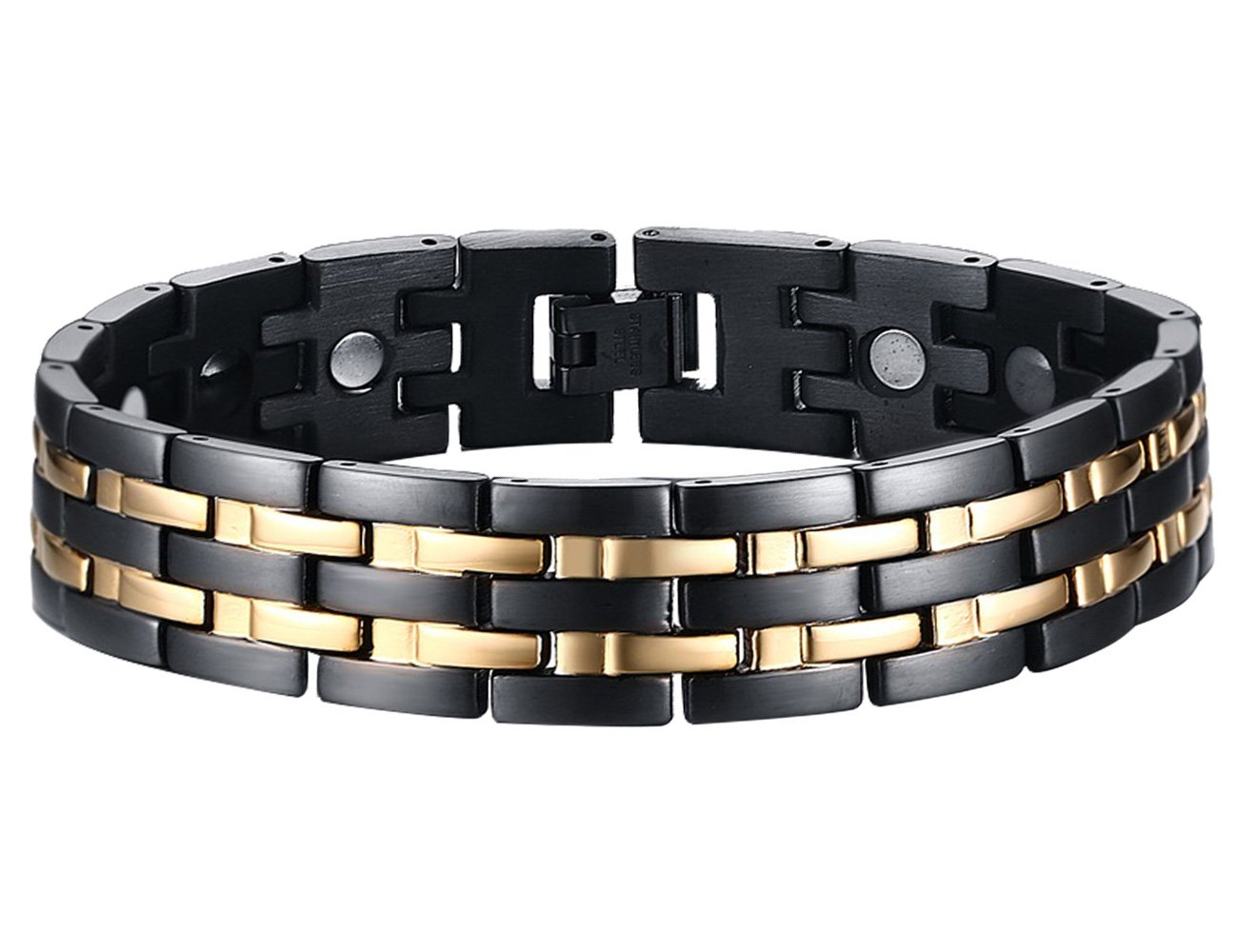 BisLinks® Titanium Magnetic Health Bracelet For Men & Women Germanium Stone Arthritis Chronic Pain Bio Therapy Carpal Tunnel Relief Negative Ion (3000 Gauss Each Magnet) + FREE LINK REMOVAL TOOL by BisLinks® (Image #2)