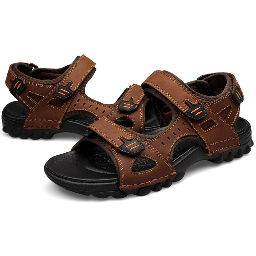 7fc7c6cdc Mens Leather Sandals Outdoor Trekking Flip Flop Summer Sports Footwear Open  Toe Beach Slippers Flat Velcro Straps Flip Flops Non-Slip Casual Large Size  ...