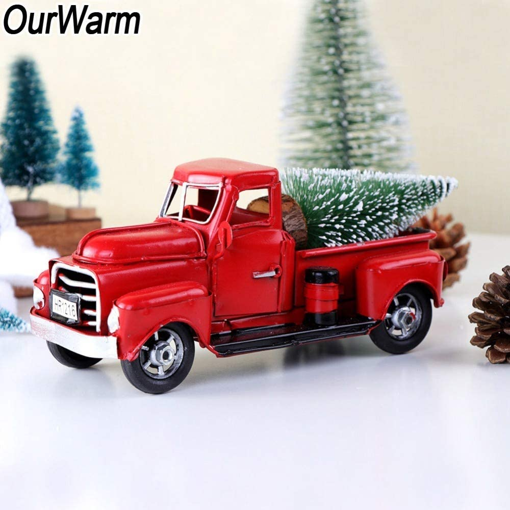 Ugsltyvqv Ourwarm Christmas Party Decor 17cm Red Metal Truck Kid Birthday Party Gift Vintage Table Truck Christmas Table Amazon Co Uk Kitchen Home