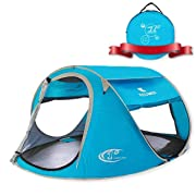 ZOMAKE Pop Up Tent 3 4 Person, Beach Tent Sun Shelter for Baby with UV Protection - Automatic and Instant Setup Tent for Family (Light Blue)