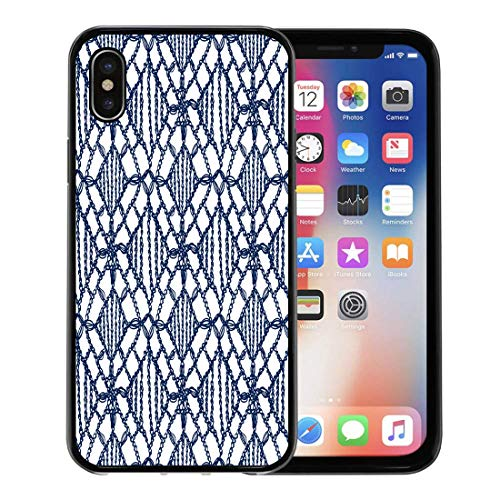 - Semtomn Phone Case for Apple iPhone Xs case,Chevron Crochet Pattern Knitting Granny Lace Macrame Boho for Interior Knitwear for iPhone X Case,Rubber Border Protective Case,Black