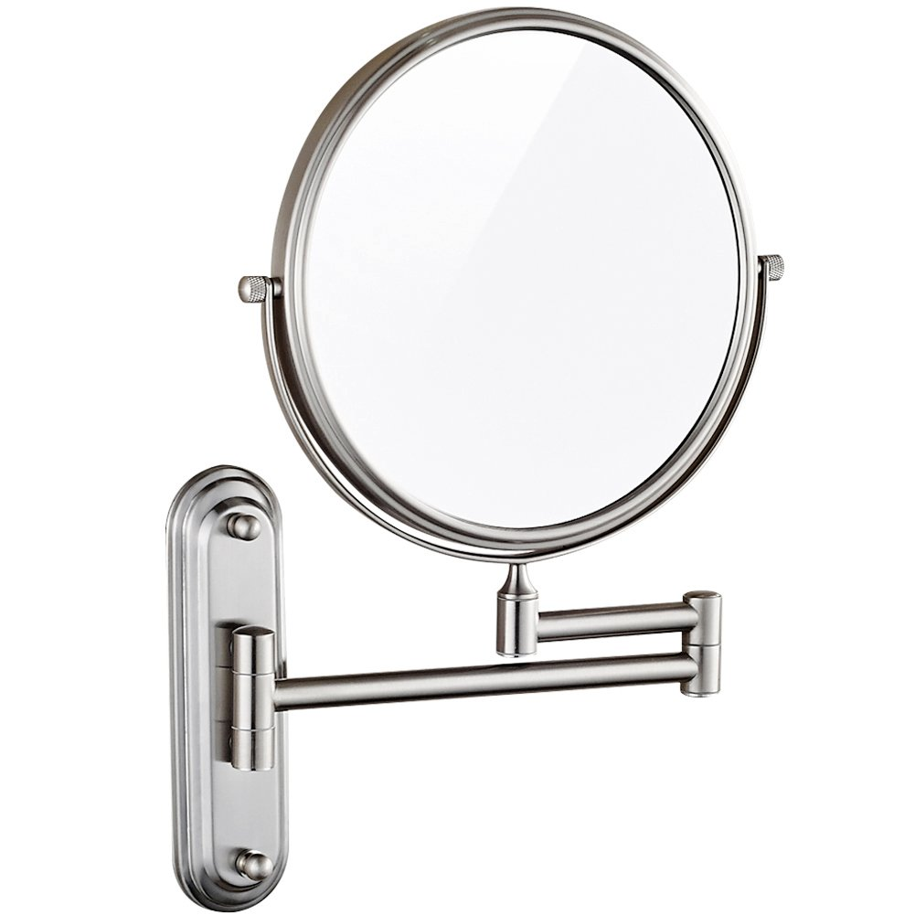 GURUN Wall Mount Magnifying Mirror Brushed Nickel Finish with 10x Magnification,8-Inch Two-Sided Swivel M1206N(8in,10x) by GURUN (Image #5)