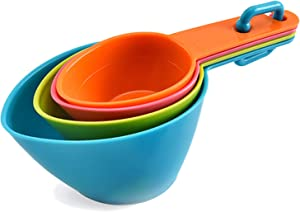 Pet Food Scoop Dog Food Scoop Cat Food Scoop Dog Food Measuring Scoop Small Measuring Cups Spoon 1 Cup 1/2 Cup 1/3 Cup 1/4 Cup for Dog Cat and Bird Food (Blue, Green, Pink, Orange) (Random Color)