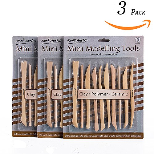 Das Modelling Clay - Mont Marte Mini Modelling Tools Boxwood 10pce - 3pack
