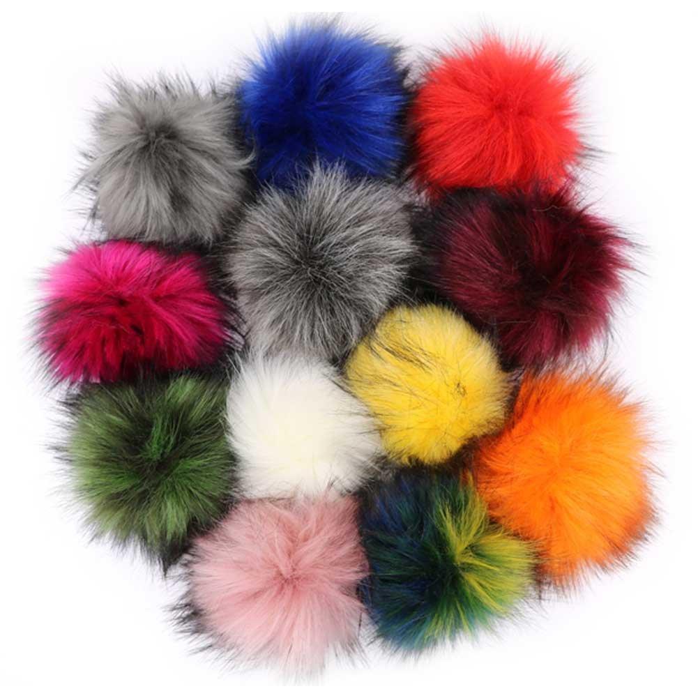 DIY Faux Fox Fur Fluffy Pompom Ball Mix Colors for Hats Shoes Scarves Bag Charms Accessories 12 pcs (Mix Colors) (color set M1) APurm