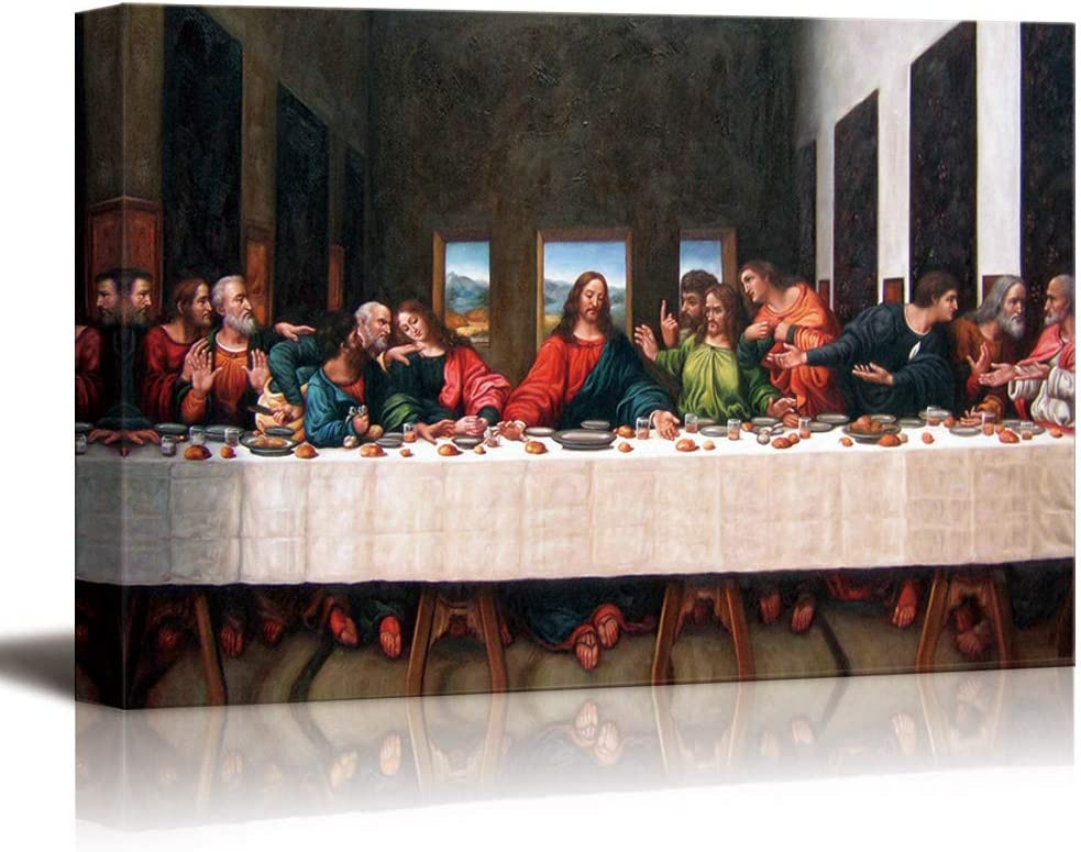 wall26 - Canvas Wall Art - Last Supper by Andrea Solari - Modern Home Art Stretched and Framed Ready to Hang - 16x24 inches