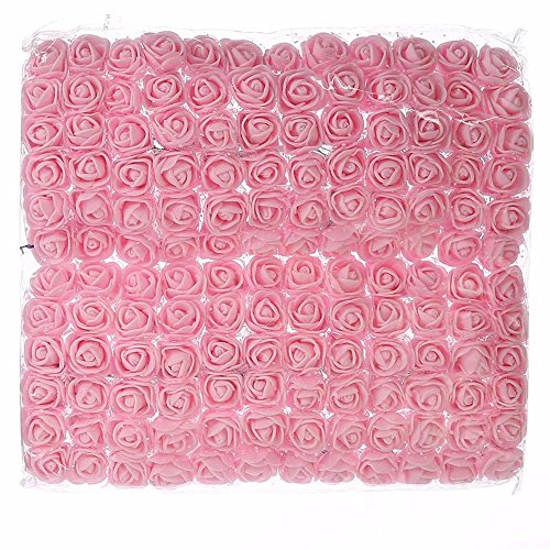 DIY 144 PCS head rose flowers Artificial Rose Flowers Wedding Bride Bouquet PE Foam DIY party festival Home Decor Garland Wreaths Rose Flowers (light pink) (Sale Artificial Centerpieces Christmas)