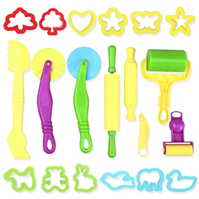 TOYANDONA Smart Dough Tools Kit Play Dough Tools with Models Molds for Kids DIY, 20 Pieces: Toys & Games