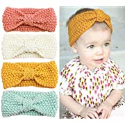 Urbun Baby Girls Headbands Wool Knitting Fabrics Turban Hairbands for Kids (4 Pack)