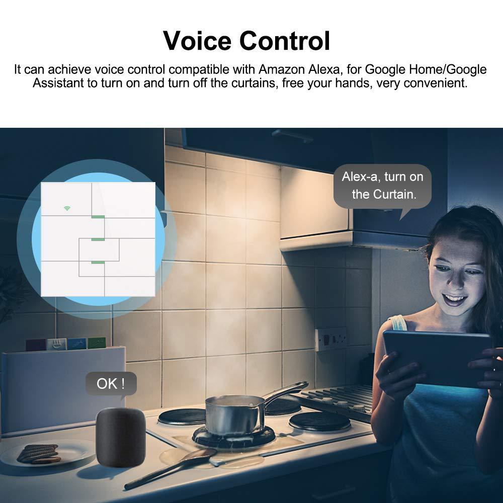 Compatible con Google Home//Nest /&  Alexa OWSOO Interruptor T/áctil de Pared 1 Gang Panel de Vidrio Interruptor WiFi Inteligente No se Requiere Hub Temporizaci/ón Control de App Tuya//Toque