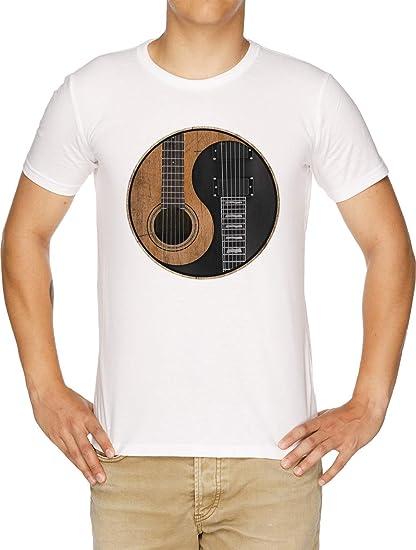 Yin Yang Guitarra Camiseta Hombre Blanco: Amazon.es: Ropa y accesorios