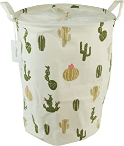 Large Sized Waterproof Coating Ramie Cotton Fabric Folding Laundry Hamper Bucket Cylindric Burlap Canvas Storage Basket with Drawstring Cover Stylish Cactus Design (Green Cactus)