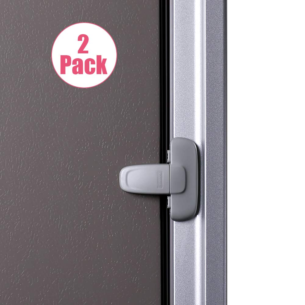 EUDEMON Home Refrigerator Fridge Freezer Door Lock Latch Catch Toddler Kids Child Cabinet Locks Baby Safety Child Lock Easy to Install and Use 3M Adhesive no Tools Need or Drill (Grey, 2 Pack)