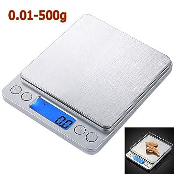 Báscula de cocina digital Báscula de cocina mini Báscula alta precisión 0.01 - 500 g con dos bandejas: Amazon.es