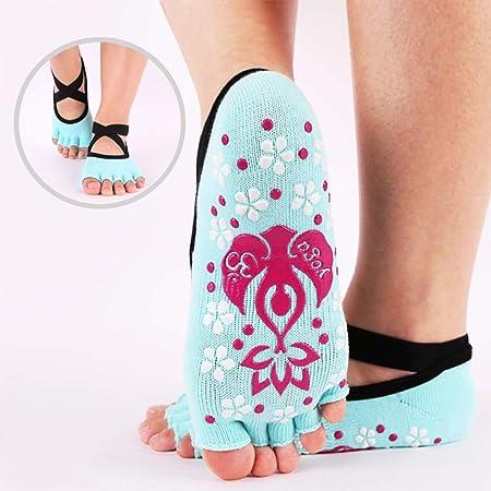 CAMORNY Calcetines de Yoga Damas Antideslizantes Calcetines ...