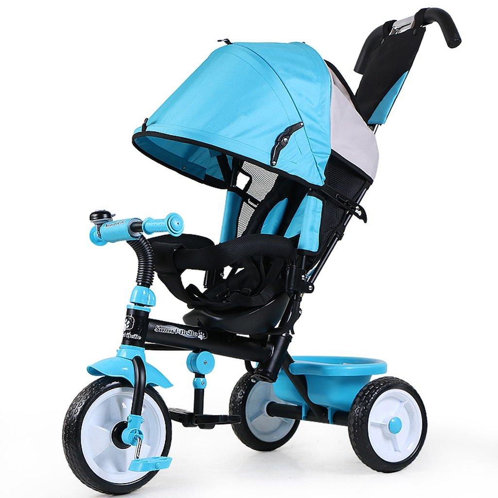 子供の三輪車バイクバケットプッシャーペダル2-5歳の子供の自転車ベビーキャリッジ、ピンク/ブルー、80 * 50 * 103cm ( Color : Blue ) B07BXDS9SY
